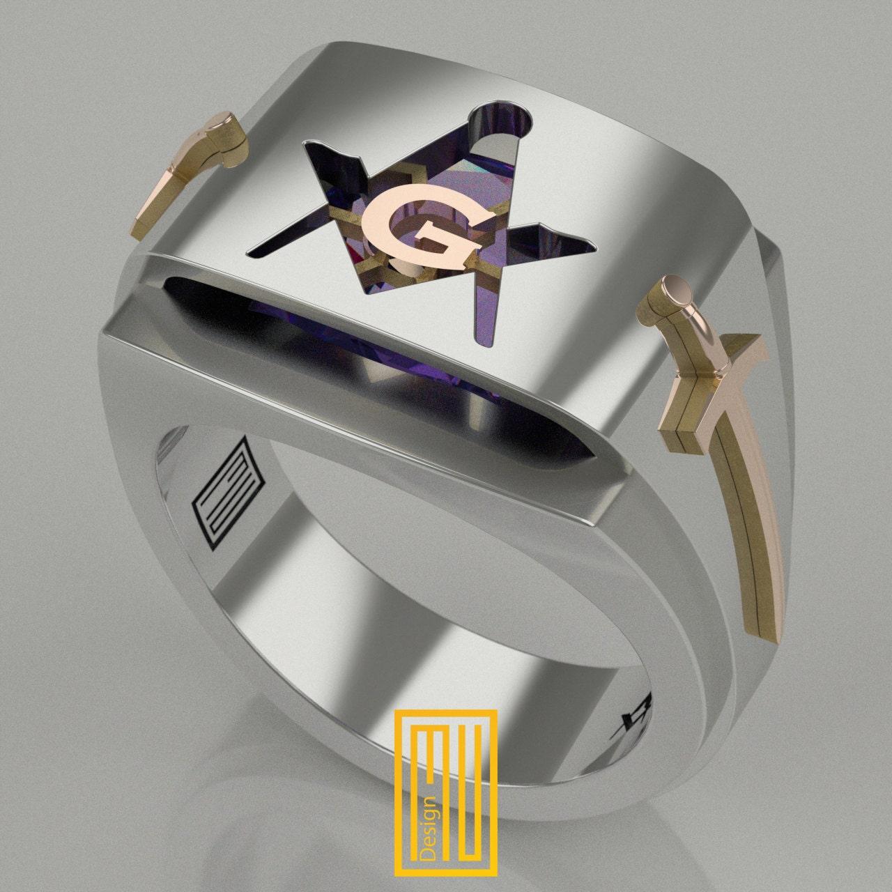 Master Mason Ring Unique Design For Men 925k Sterling Silver