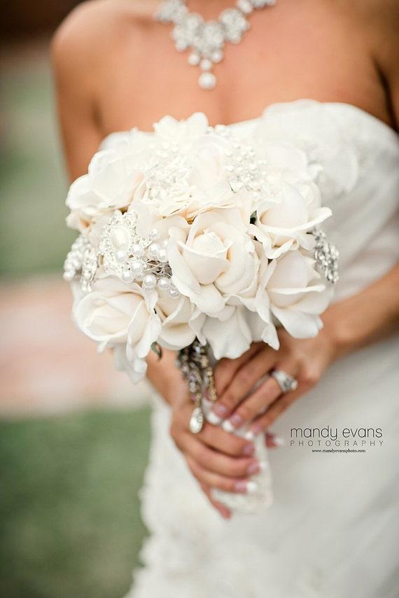 Ivory True Touch Rose Bouquet Ivory Brooch By Merrymebouquets