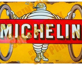 "Michelin Man Retro Metal Sign  Size 10"" x 6.5"" (254mm x 170mm)"