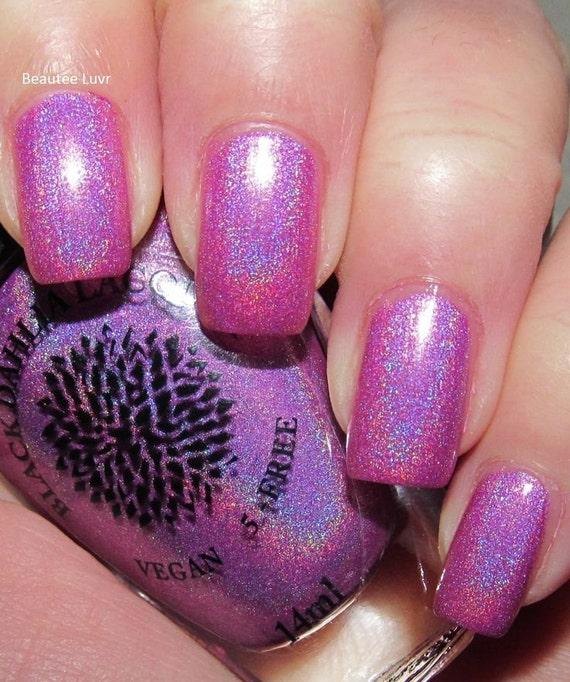 Bright Pink Holo Nail Polish By Black Dahlia Lacquer
