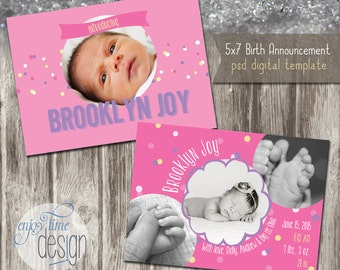 INSTANT DOWNLOAD - Birth Announcement - Photoshop Template - E101