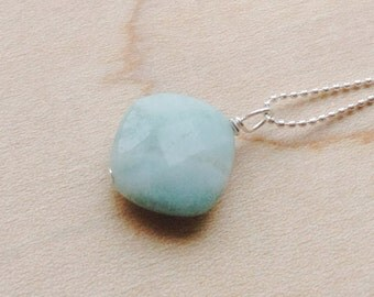 Square Amazonite Pendant- sterling silver, gold filled, Amazonite Necklace, Amazonite Charm,  blue gemstone, natural gemstone