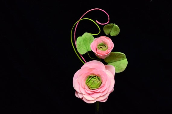 Light Pink Gum Paste Ranunculus Sugar Flower with Bud and Bauhinia Orchid Leaves, Cake Decoration