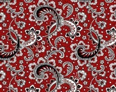 French Laundry by Henry Glass-Paisley-Red-White-Gray-Black-By The Yard