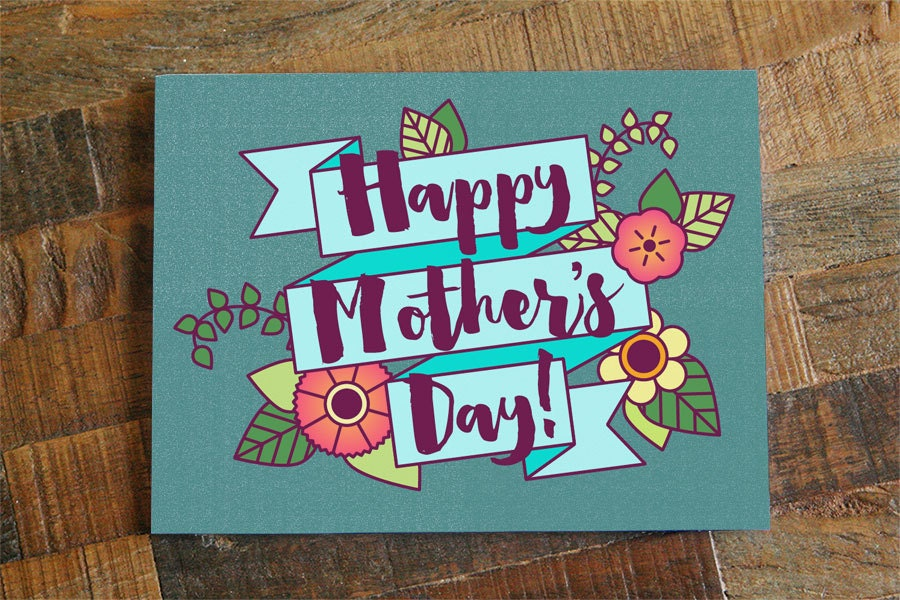 Pretty mother s day card floral happy