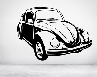 Classic Vintage VW Beetle car. Vinyl wall art decal sticker quote. Any color & size. (#24)