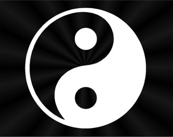 Yin Yang Decals, Chinese Symbol Decals, Laptop, Car, Window Vinyl Decals, Stickers 10323