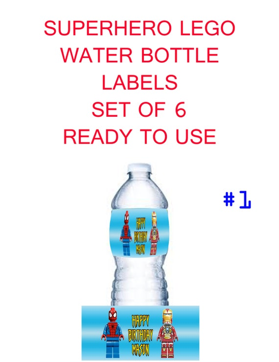 items similar to superhero lego water bottle labels set of