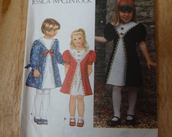 Simplicity Jessica McClintock Girls Dress Pattern #9834 Size AA 3,4,5,6 cut/complete