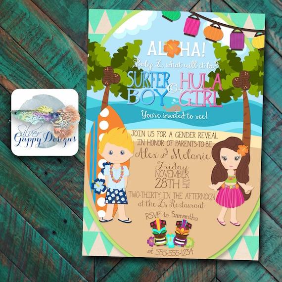 luau  beach themed gender reveal baby shower by silverguppydesigns