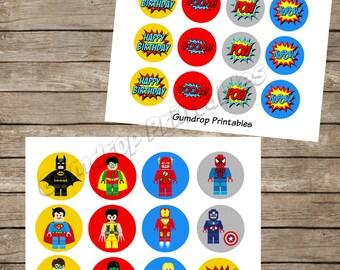 2 Sheets Lego Superhero 2 Inch Circles Cupcake Topper Pick Images ~ Instant Download ~ Boys Super Hero Birthday Printable Image Sheet