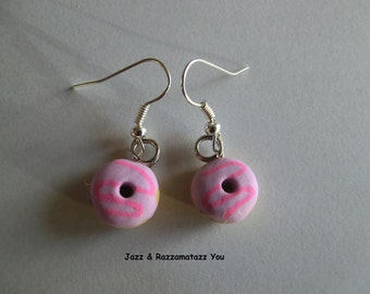Handcrafted Fimo Purple Donut/Doughring Earrings