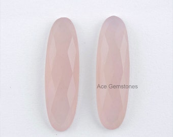 Pink Chalcedony Faceted Flat Back Cabochon Oval Pair 10x35 mm Wholesale Loose Gemstone