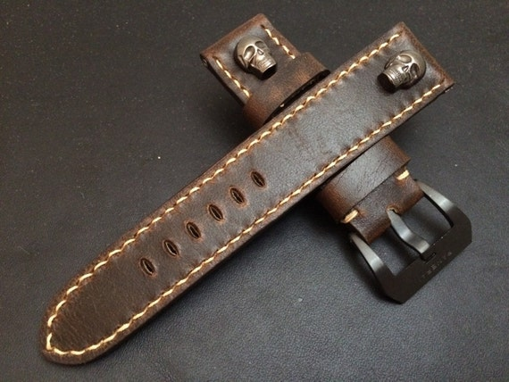24mm straps, Handmade vintage Brown leather watch band, real leather watch strap, watch strap for Panerai, 24mm, 26mm, Light Brown stitching