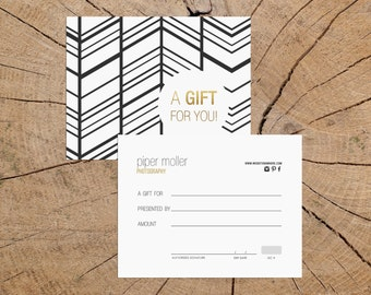 Elvira v2 double sided gift certificate template - Instant download