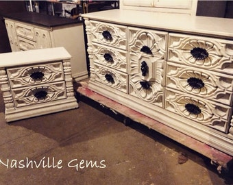 SOLD: Shabby Chic Dresser and Nightstand