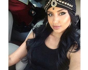Black Jeweled Turban Kundan Great Gatsby Fancy Bollywood Gold Boho Bohemian Glamour