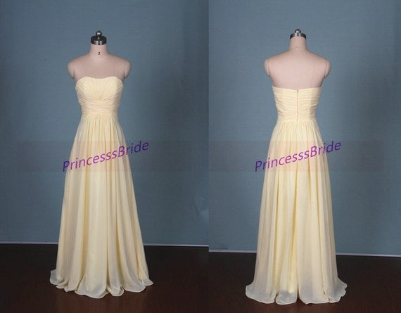 2016 long light yellow chiffon bridesmaid dresses hot simple for Yellow wedding dresses for sale