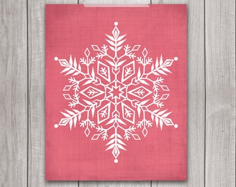 75% OFF SALE - Snowflake Print - 8x10 Printable Christmas, Holiday Art Print, Holiday Wall Art, Christmas Decor, Holiday Decor