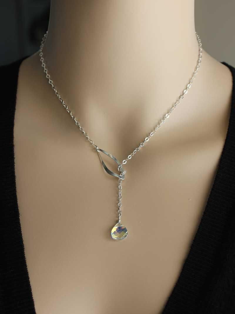 Silver Lariat Necklace Swarovski Crystal Ab Necklace Long