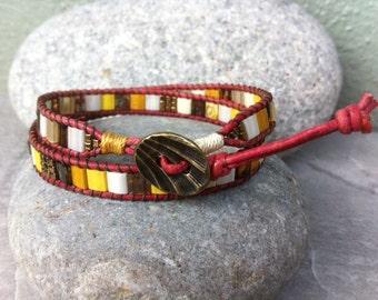 Leather Beaded Bracelet, Miyuki Tila Bracelet, Mosaic Beaded Bracelet, Bohemian, Red Leather, Pewter Button