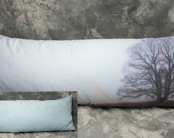 Tree in Fog: 14x36 Throw Pillow Faux Suede back. FREE SHIPPING Pillow has insert!