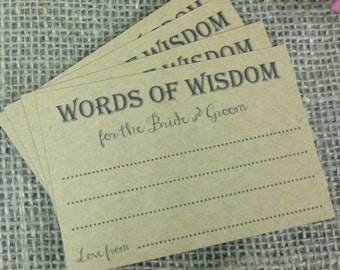 Words of wisdom cards for the Bride & Groom (pk 8)