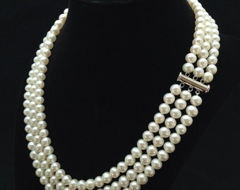 Genuine Pearl Necklace, AAA+ Pearl Necklace, Triple Strand Pearl Necklace, Multi strand Freshwater Pearl Necklace, Special