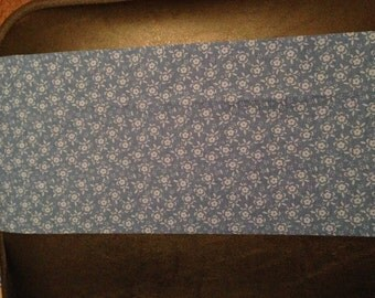 White Flowers on Blue Burp Cloth