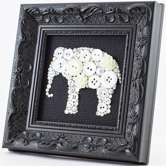 White Elephant Framed Button Art Elephant Wall Hanging White Elephant Wall Art Elephant Home