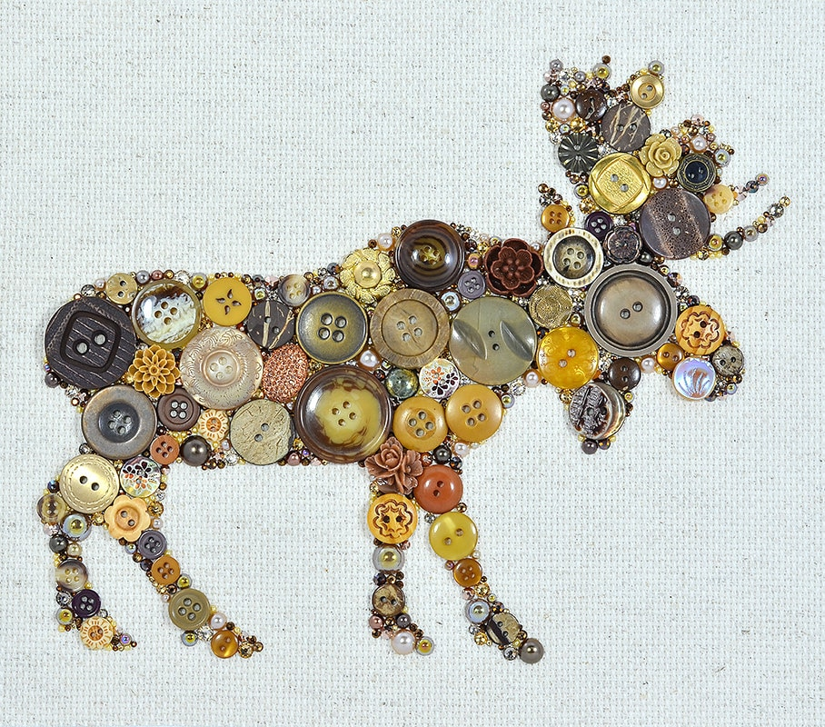 Vintage Button Wall Decor : Button art moose vintage wall hanging