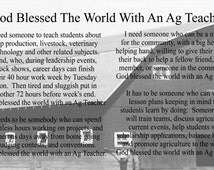 God Blessed The World With An Ag Teacher Canvas Wall Hanging  - Teacher Gift