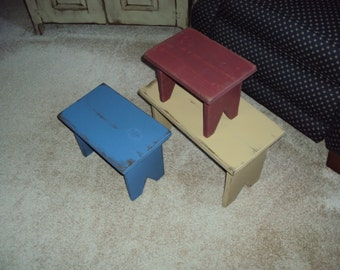 Set of Three Handmade Primitive  Bench / Stools in Choice of Color and Finish