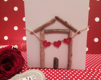 Handmade Driftwood Beach Hut Card