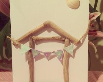 Handmade Driftwood Beach Hut Mothers Day Card