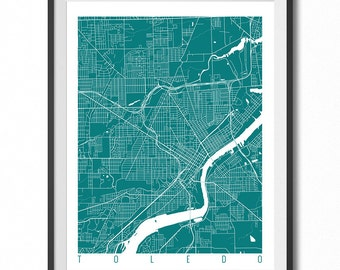 TOLEDO Map Art Print / Ohio Poster / Toledo Wall Art Decor / Choose Size and Color