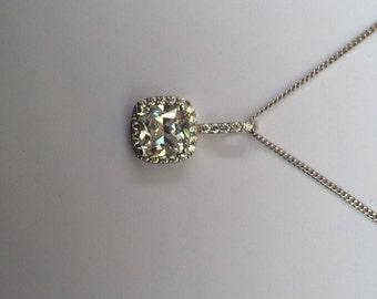 Sterling silver square CZ pendant