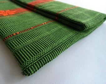Hand woven Ikat Fold Over Clutch in Light Green & Orange-Woven Ethnic Bag-Ikat handbag