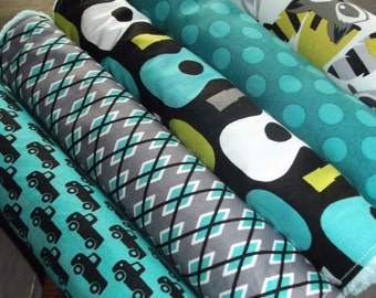 NEW set of 5 Handmade Baby Boy Burp Cloths Bibs Groovy Guitar Tula Gray Michael Miller Lagoon Racoon Argyle Trucks Lime Black Jade Gray