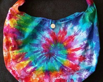 Bright Tie-dye Rainbow Large Hobo Bag