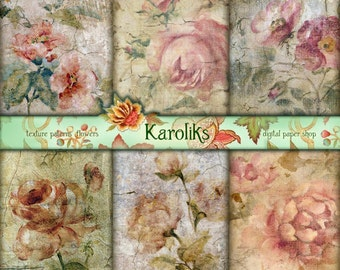 Roses Vintage Floral Digital image.Victorian Floral Download. Scrapbook Digital.Decoupage Digital paper pack. Floral Digital Paper. K-56