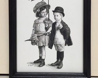 Pen and Ink Drawing, Art, Nostalgic Art, Cute Kids