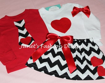 Brother & Sister Valentine's Chevron Skirt and TShirt Set - Boys and Girls Valentine Outfit Set - Set of two Valentine's Personalized