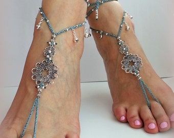 Bridal barefoot sandals, Teal, Bohemian Wedding Sandals, Crochet ankle,t Hippie bride Hippie sandals, Belly dance jewelry, Boho gift for her