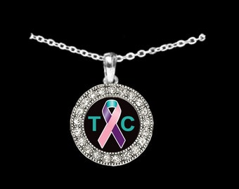 Thyroid Cancer Awareness Rhinestone Necklace