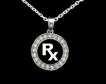 RX Pharmacy Rhinestone Necklace