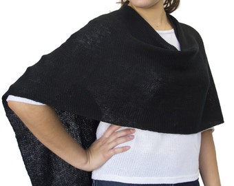 Black Wool Poncho in Lightweight Merino Wool
