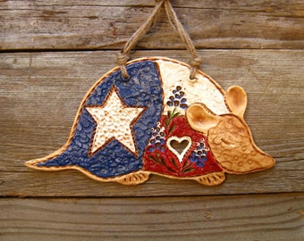 Texas Armadillo with Bluebonnets / Rustic Texas Decor / Western Decoration / Cowboy Decor / Gift
