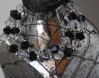 Double Strand Beaded Bracelet- Black and Crystal