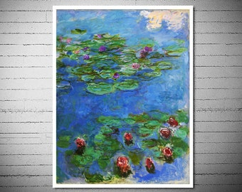 Claude Monet  - Water Lilies - Poster Paper, Sticker or Canvas Print